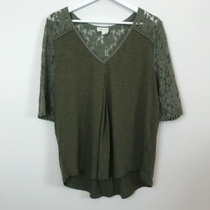 Anthropologie Meadow Rue Olive Lace Top